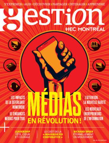 Page couverture de Gestion, spécial médias (Groupe CNW/HEC Montréal)