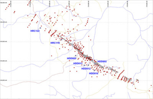 Figure 2: Locations of recent drill holes at the Hicks deposit. (CNW Group/Azimuth Resources)