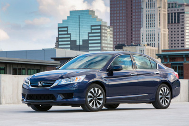 With an exceptional NRC fuel economy rating of 3.7 L/100km city and fun-to-drive performance, sophisticated styling and premium comfort features, the all-new 2014 Honda Accord Hybrid goes on sale across the country with an MSRP starting from $29,590. (CNW Group/Honda Canada Inc.)