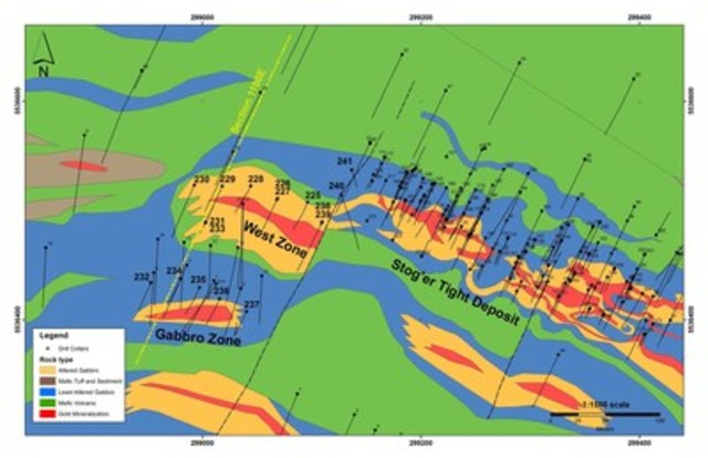 Exhibit A: A geological map of the Stog'er Tight area showing the location of surface mineralization (red) at the West Zone and the Gabbro zone, the location of drill holes reported in this release and the location of the cross section shown in Exhibit B.  The Stog'er Tight deposit is shown in relation to the West and Gabbro zones. (CNW Group/Anaconda Mining Inc.)