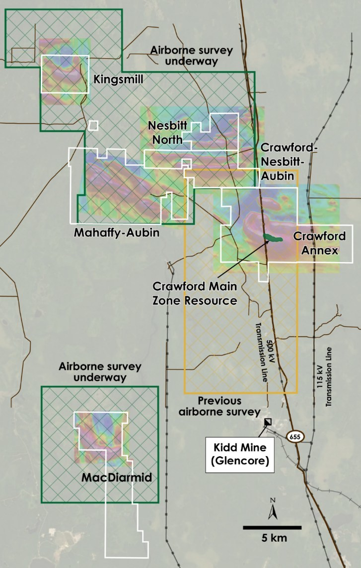 Figure 6 - Planned and Previous Airborne Geophysical Survey Areas over Crawford, Kingsmill, Nesbitt-Aubin, Nesbit North, MacDiarmid and Mahaffy-Aubin Properties, Ontario (CNW Group/Canada Nickel Company Inc.)