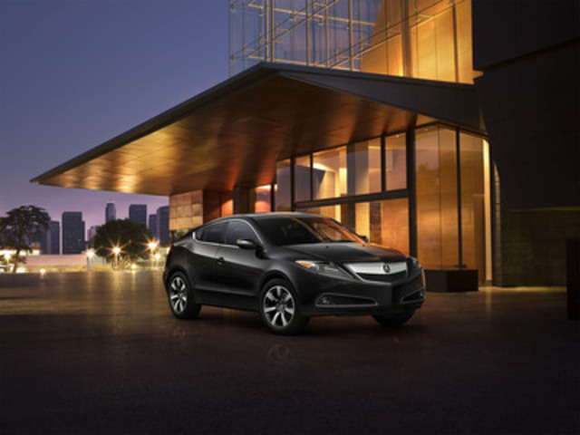 The innovative and stylish Acura ZDX crossover vehicle will receive numerous styling and technology enhancements for the 2013 model year, including a redesigned front grille, front and rear parking sensors, power folding side mirrors and safety features such as Forward Collision Warning (FCW) and Lane Departure Warning (LDW). (CNW Group/Acura Canada)