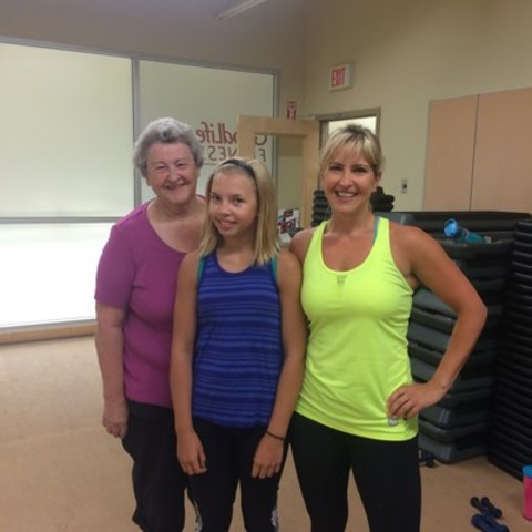 Colleen (right), poses with her daughter Madysen (middle) and her mother Ardyth (left) after a class at the Pitt Meadows BC GoodLife club. Madysen is one of 70,000 teens to have registered for GoodLife's nation-wide free Teen Fitness Program. (CNW Group/GoodLife Fitness)