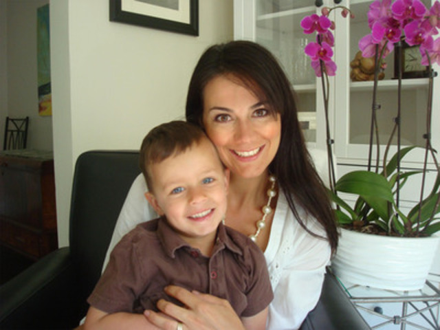 Selina Esteves, mother, and three-year-old Hudson who drank the contents of two bottles of children's medications. Hudson survived without repercussions, but Esteves wants Canadians to know they should keep potential poisons Out of Sight and Locked up Tight so they avoid going through a similar traumatic experience. (CNW Group/Safe Kids Canada)