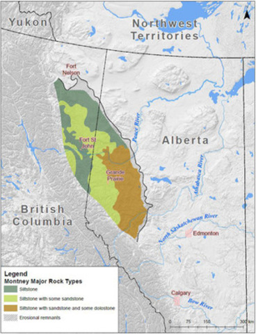 Figure 1. Generalized map showing the location of the Montney Formation. Modified from the Geological Atlas of the Western Canada Sedimentary Basin. (CNW Group/Government of Canada)