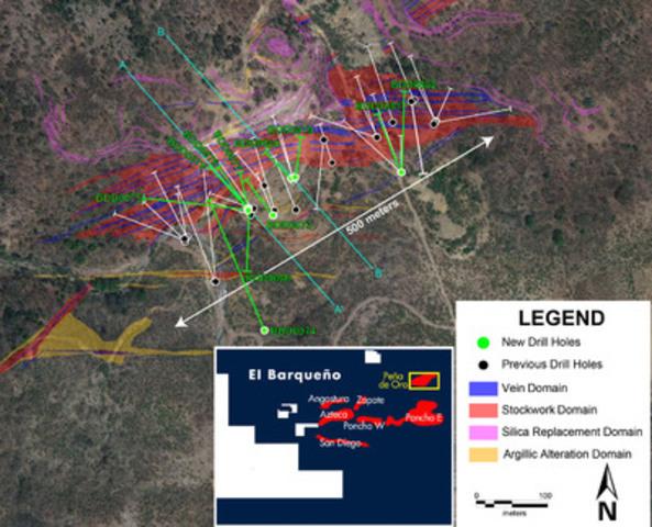 Figure 1 - Peña de Oro Drill Results Map (CNW Group/Cayden Resoruces Inc.)