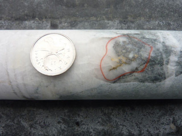 Visible Gold (VG) in hole BD2012-184 at approximately 251 metres depth at Bellechasse-Timmins, Quebec. (CNW Group/Golden Hope Mines Limited)