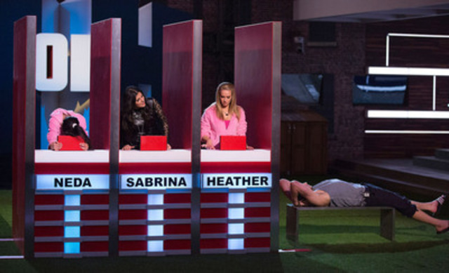 Neda, Sabrina, and Heather compete in HOH; Jon watches on. Winner revealed Sunday at 9pm ET on Slice. Photo by Greg Henkenhaf (CNW Group/SLICE)