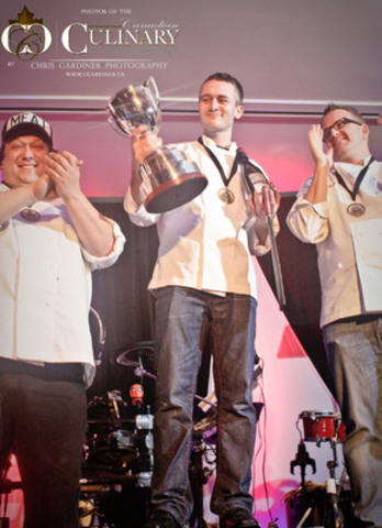 Marc Lepine, representing Atelier in Ottawa, wins gold at the 2012 Canadian Culinary Championships in Kelowna. Vancouver's Rob Feenie from Cactus Club Cafe received the silver medal while Montreal's JP St-Denis from Kitchen Gallerie Poisson received the bronze. (CNW Group/Gold Medal Plates Inc.)