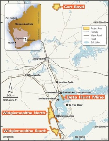 Figure 1. Beta Hunt Mine Location Map - SLM's Beta Hunt Mine and projects are located in a prolific mining region. Source: SLM (CNW Group/Royal Nickel Corporation)
