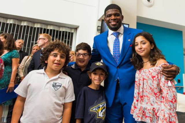 P.K. Subban with young patients Gabriel, David, Liam and Ashley (CNW Group/The Montreal Children's Hospital Foundation)