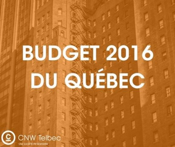 Budget 2016 du Québec (Groupe CNW/Groupe CNW Ltée)