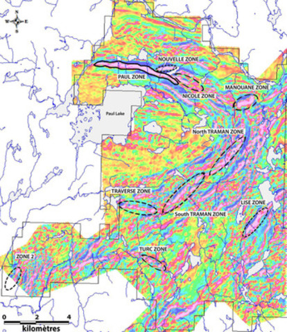 Magnetic geophysical survey showing magnetic anomalies associated to different mineralised zones of Lac à Paul Project (CNW Group/Arianne Phosphate Inc.)