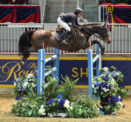 Laura Kraut's horse Woodstock O makes a generous effort in the jump-off round of the $50,000 Weston Canadian Open, at the CSI4*-W Royal Horse Show, Toronto. Unfortunately the pair had the very last jump down to finish second in the class. Photo Credit: Ben Radvanyi (CNW Group/The Royal Agricultural Winter Fair)