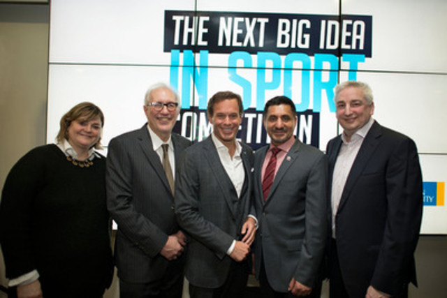Ryerson and Rogers celebrate the launch of the inaugural Next Big Idea in Sport Competition L-R: Cheri Bradish, Loretta Rogers Research Chair in Sport Marketing at the Ted Rogers School of Management; Sheldon Levy, President and Vice Chancellor of Ryerson University; Mark Cohon, Canadian Football League's 12th Commissioner; Hon. Bal Gosal, Minister of State (Sport) and Dale Hooper, Chief Brand Officer, Rogers Communications Inc. (CNW Group/Digital Media Zone)