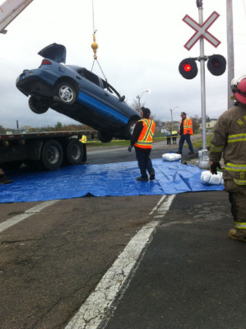 Car hits train in mock collision to simulate the wreckage from a real incident. (CNW Group/Operation Lifesaver)