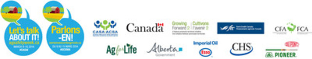 CASW partners/sponsors include the Government of Canada through Growing Forward 2, a federal, provincial and territorial initiative, Farm Credit Canada, Ag for Life, Alberta Agriculture and Rural Development, CHS, Imperial Oil and Pioneer Hi-Bred Limited. (CNW Group/Canadian Agricultural Safety Association)