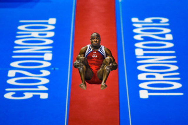 Eduardo Lima, a Toronto-based freelance photographer, is this year's Tom Hanson Photojournalism Award winner. This photo of American gymnast Donnell Whittenburg was taken during the Artistic Gymnastics Men's Vault final at the 2015 Toronto Pan American Games. (CNW Group/Canadian Journalism Foundation)