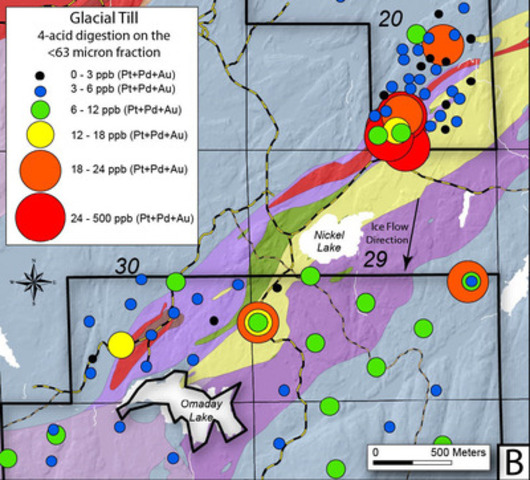 Figure 3b - Precious metal (Pt+Pd+Au) geochemical anomaly map of glacial tills within the Nickel Lake Macrodike area (CNW Group/Duluth Metals Limited)