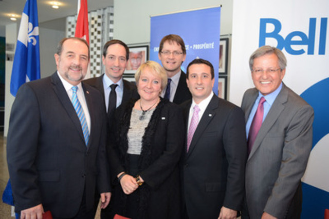 Bell's opening a new customer service centre in the Saguenay region, brings 450 new jobs to the community. Were present (left to right): Minister Denis Lebel, Minister Stéphane Bédard, Martine Turcotte (Bell), Minister Sylvain Gaudreault, John Dinardo (Nordia) and Mayor Jean Tremblay. (CNW Group/Bell Canada)