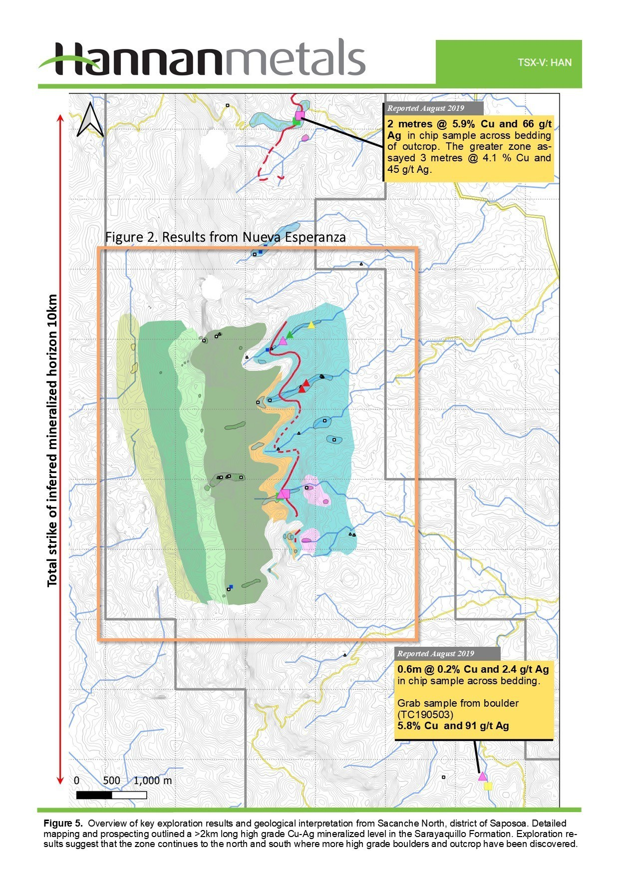 Figure 5: Overview of key exploration results and geographical interpretation from Sacanche North, district of Saposoa. (CNW Group/Hannan Metals Ltd.)