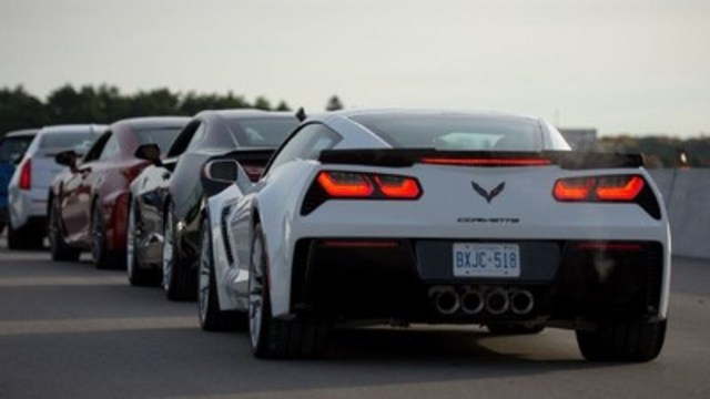 Cars lined up back-to-back testing track (CNW Group/Automobile Journalists Association of Canada)