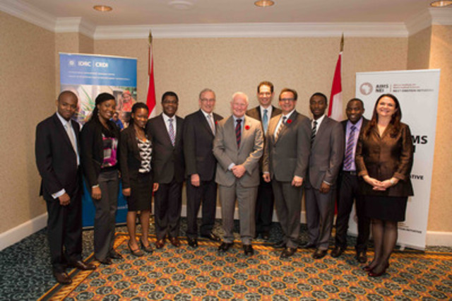 In the photograph (left to right): Martial Loth Ndeffo Mbah, AIMS graduate; Marvellous Onuma-Kalu, AIMS graduate; Nosiphiwo Zwane, AIMS graduate; Thierry Zomahoun, Executive Director, AIMS-NEI; Denis Desautels, Chair of IDRC's Board of Governors; His Excellency the Right Honourable David Johnston, Governor General of Canada; Neil Turok, founder of AIMS-NEI and Director of the Perimeter Institute for Theoretical Physics; Jean Lebel, President, IDRC; Felix Oghenekohwo, AIMS graduate; Richard Junganiko Munthali, AIMS graduate; Adele Newton, AIMS-NEI. (CNW Group/International Development Research Centre)