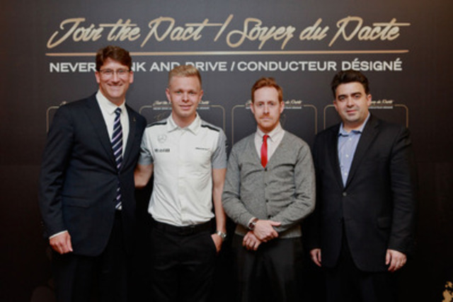 Jakob Ripshtein, incoming President, Diageo Canada; Kevin Magnussen, McLaren Mercedes F1 Team Driver; Sam Dalcourt, Diageo Reserve Brand Ambassador; Dimitri Antonopoulos, VP Marketing, Groupe Restaurants Antonopoulos (CNW Group/Diageo Canada)