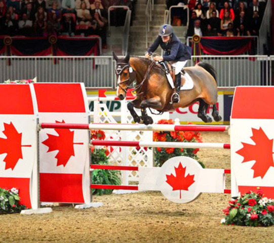 American Olympian Leslie Howard and Utah took the $75,000 Ricoh Big Ben Challenge in front of a sold-out crowd to cap the international division at the CSI4*-W Royal Horse Show, Toronto. (CNW Group/Royal Agricultural Winter Fair)