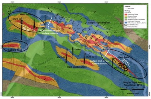 Exhibit A: A geological map of the Stog'er Tight area showing the location of surface mineralization (red), recent channel samples collected in the fall of 2015 (labeled as per previous press release) and the areas of drilling planned for the current program. (CNW Group/Anaconda Mining Inc.)