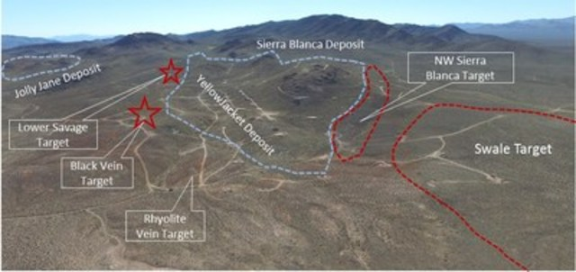 Figure 1. Looking south at the YellowJacket/Sierra Blanca deposit and the surrounding 2016 exploration targets. (CNW Group/Corvus Gold Inc.)