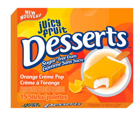 Juicy Fruit Desserts Single Pack: Orange Crème Pop. (CNW Group/Wrigley Canada)