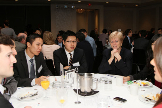 Barbara Stymiest, Director of Blackberry, shares her experiences with the young professionals at Breakfast of Champions in support of SickKids (CNW Group/Breakfast of Champions in Support of SickKids)