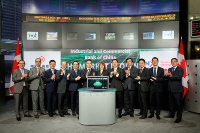 Mr. Gu, Shu, Senior Executive Vice President, Industrial and Commercial Bank of China (ICBC) joined Brenda Hoffman, Chief Information Officer, Group Head of Technology, TMX Group to open the market to celebrate the signing of a Memorandum of Understanding (MoU) to enhance their understanding of each other's businesses and to evaluate further business opportunities. (CNW Group/TMX Group Limited)