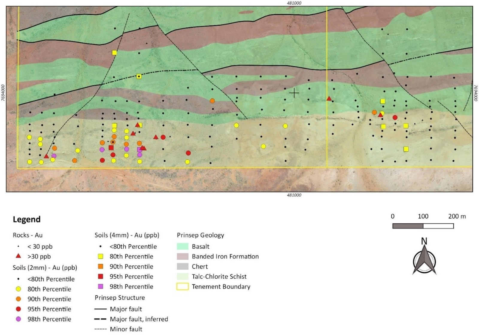 Figure 1: Prinsep South target area with rock and soil sampling.