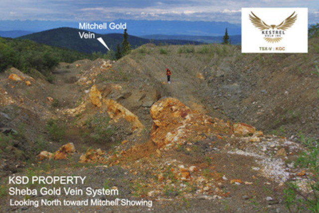 KSD PROPERTY - Sheba Gold Vein System - Looking North toward Mitchell Showing (CNW Group/Kestrel Gold Inc.)