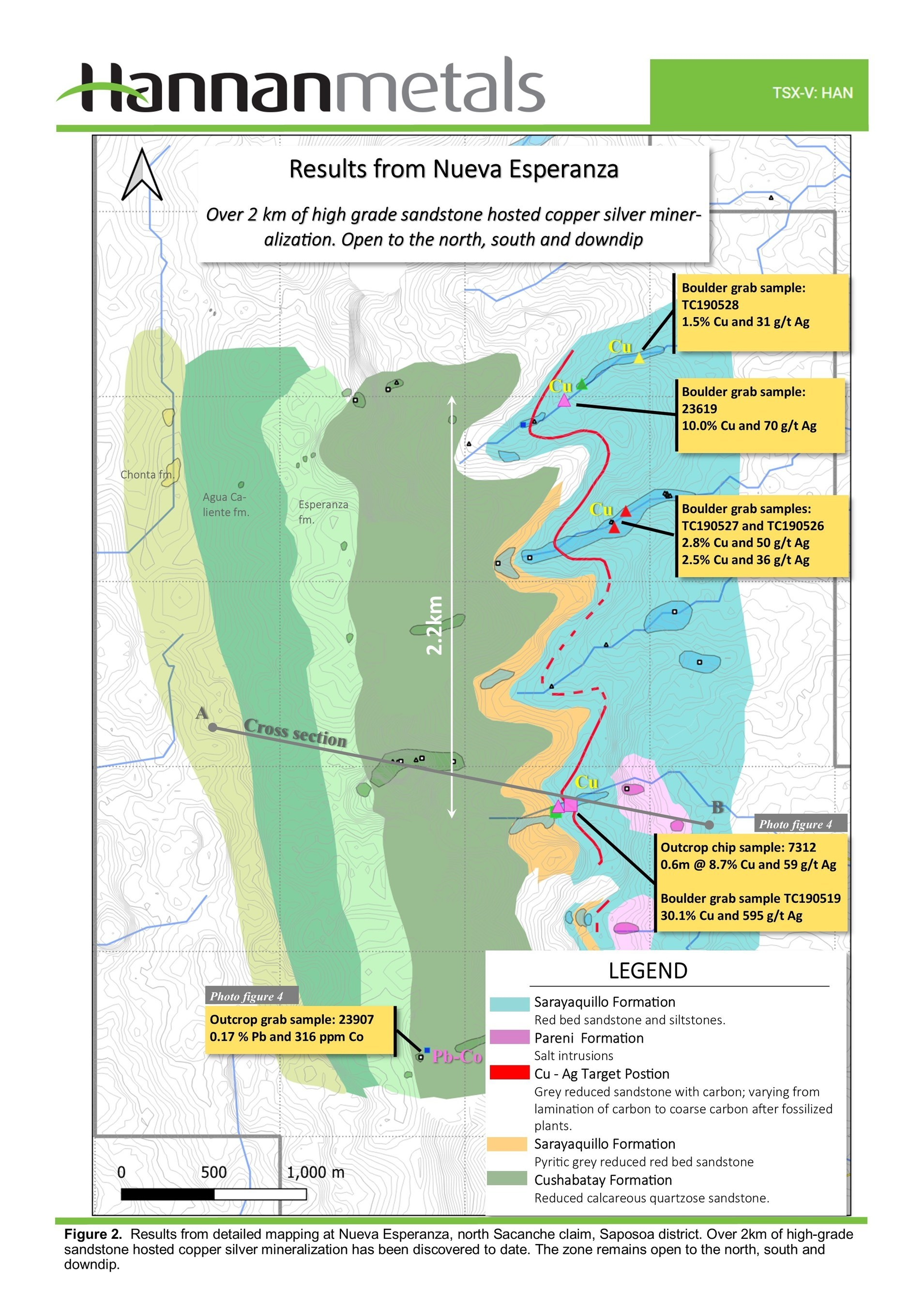 Figure 2: Results from detailed mapping at Nueva Esperanza, north Sacanche claim, Saposoa district. (CNW Group/Hannan Metals Ltd.)