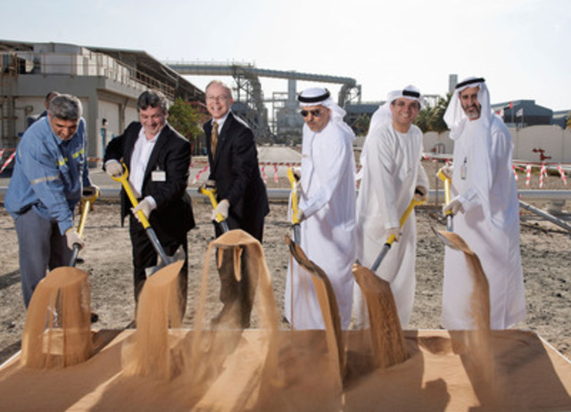 From left to right: Ali Al Zarouni, Senior Vice-President, Operations, EGA; Marc O'Connor, Vice-President Aluminium & Montreal Business Unit, SNC-Lavalin; Bob Card, President & CEO, SNC-Lavalin; Abdulla J M Kalban, EGA; Yousuf A. Bastaki, EGA; Saeed Fadhel Al Mazrooei, EGA (CNW Group/SNC-Lavalin)