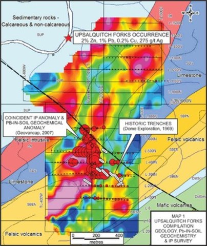 MAP 1 UPSALQUITCH FORKS COMPILATION GEOLOGY, Pb-IN-SOIL GEOCHEMISTRY & IP SURVEY (CNW Group/Wolfden Resources Corporation)