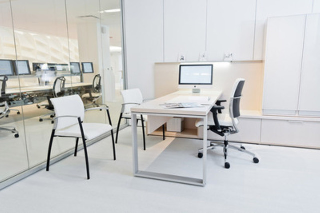 With one of the largest finish offerings in the industry, this contemporary laminate and wood Expansion Casegoods line brings a refined aesthetic to the private office. (CNW Group/Teknion Roy & Breton)