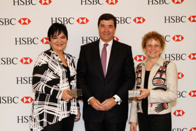 From left: Vivian Prokop, President and CEO, Pathways to Education; Paulo Maia, President and CEO and Executive Sponsor of HSBC's Indigenous Canadian Employee Resource Group, HSBC Bank Canada; Jean Teillet, Vice Chair (Board of Directors), Indspire Canada. (CNW Group/Pathways to Education Canada)