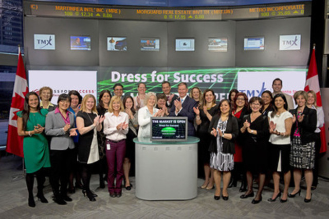 Geri Markvoort, Chair, Dress for Success Toronto Board joined Peter Conroy, President, Shorcan Brokers Limited to open the market to launch Dress for Success Toronto's annual Bay Street Suit Challenge. The Bay Street Suit Challenge is a competition among companies across the GTA, that encourages employees to clean out their closets and donate their professional attire, the company that donates the most professional garments wins the suit drive. The Challenge kicks off April 28th and runs the month of May. Dress for Success is a global not-for-profit organization that promotes the economic independence of disadvantaged women by providing a professional attire, a network of support and the career development tools to help women thrive in work and in life. (CNW Group/TMX Group Limited)