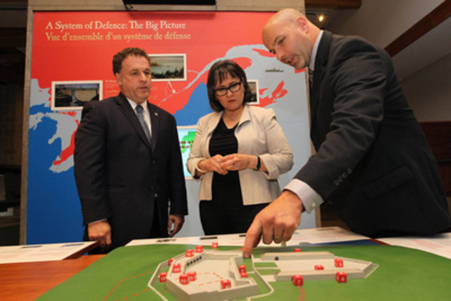 The Minister of the Environment, the Honourable Leona Aglukkaq tours the Fort Henry National Historic Site in Kingston following the announcement of new investments for the site. On the left: Gordon Brown, Member of Parliament for Leeds-Grenville. On the right: Darren Dalgleish, General Manager & CEO, St. Lawrence Parks Commission. (CNW Group/Parks Canada)
