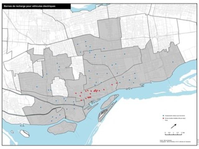 Plan de localisation des bornes (Groupe CNW/Ville de Montréal - Cabinet du maire et du comité exécutif)