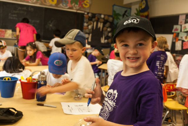 A Grade 1 to 2 camper enjoys ESQ in July 2013. (CNW Group/University of Waterloo)