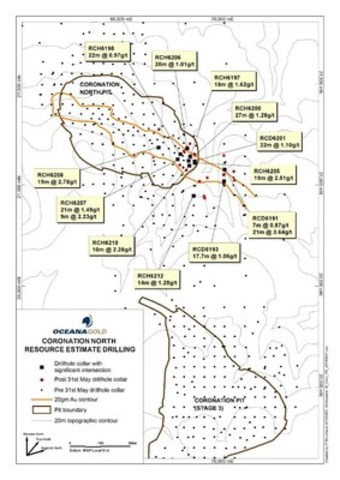 Figure 7 – Coronation North drill holes (plan view) (CNW Group/OceanaGold Corporation)