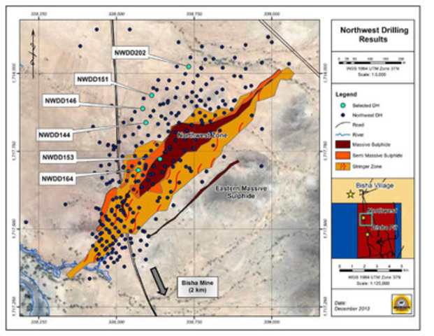 Northwest Drilling Results (CNW Group/Nevsun Resources Ltd.)