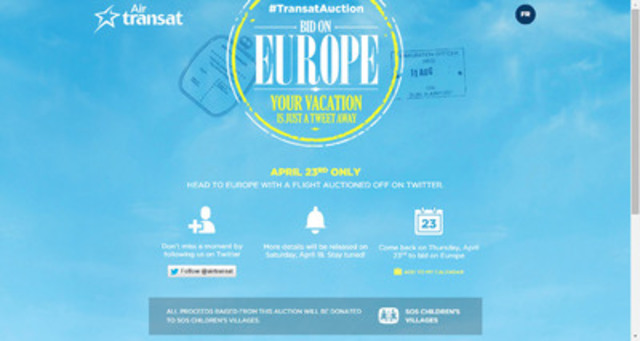 Transat kicks off the second edition of the #TransatAuction on Twitter! (CNW Group/Transat A.T. Inc.)
