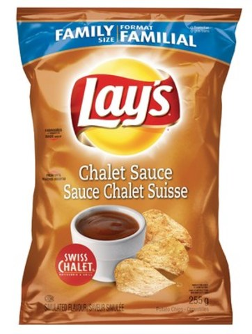 Introducing the Most Canadian Chip Ever! Lay's Chalet Sauce potato chips, available only at participating Swiss Chalet restaurants while quantities last. Available in 255g bags and 40g bags. (CNW Group/PepsiCo Canada)