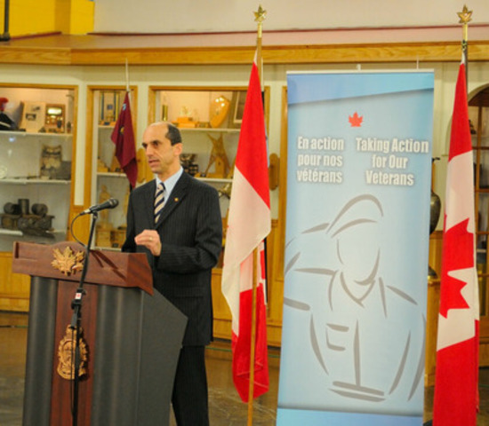 The Honourable Steven Blaney, Minister of Veterans Affairs, announced today at Valcartier Garrison that, effective immediately, the Government of Canada will end deductions of Veterans' disability pensions when calculating their Earnings Loss and Canadians Forces Income Support benefits. (CNW Group/Veterans Affairs Canada)